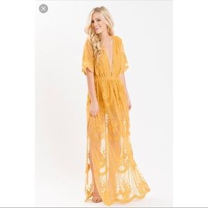HONEYPUNCH MARIGOLD EMBROIDERED LACE MAXI